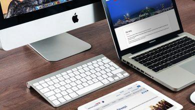 Laptop, desktop and tablet with airline websites
